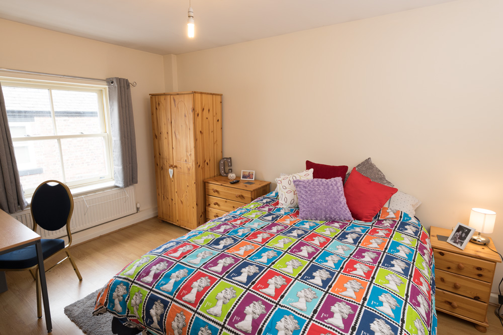 Ormskirk Student Accommodation, Burscough Street property - modern spacious bedroom with double bed and furniture