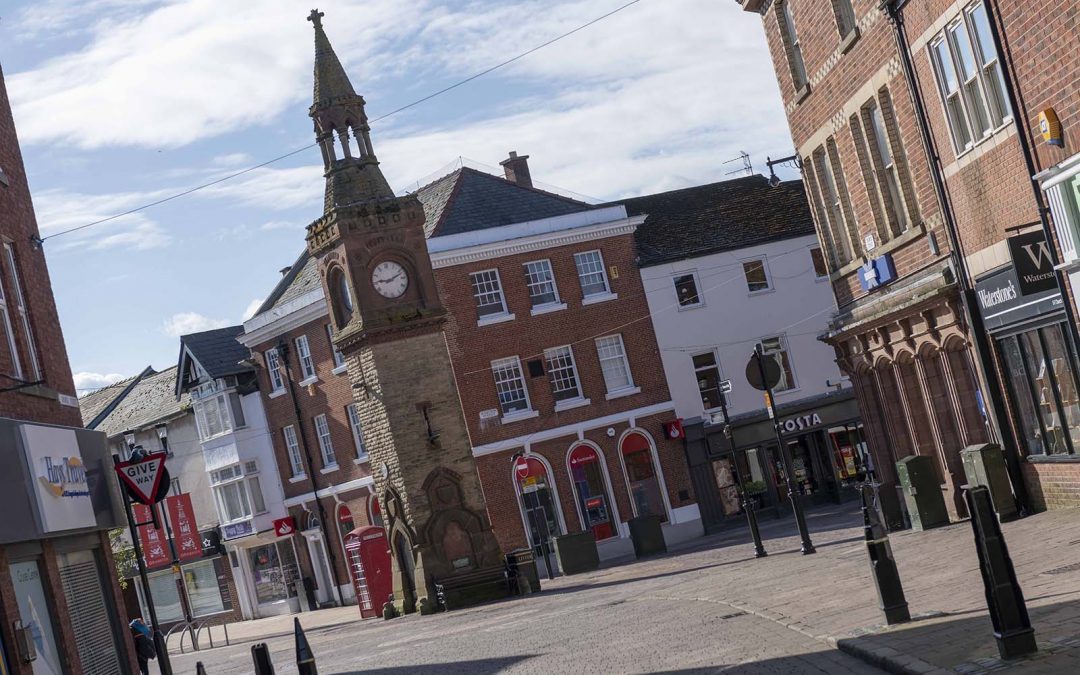 Ormskirk Town Centre Clock Tower and Shops